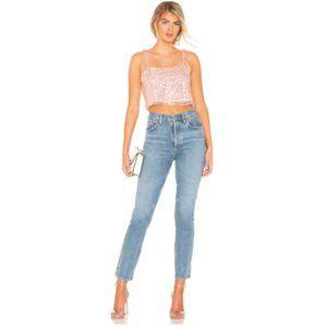 Revolve H:ours Kristen Top Pink Sequins Crop XXS